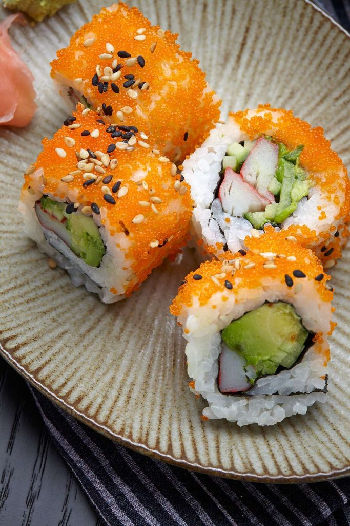 Sushi Rolls in Japanese Plate