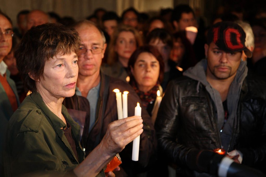 Jane Birkin at a Vigil for Aung San Suu Kyi in front of Paris City Hall