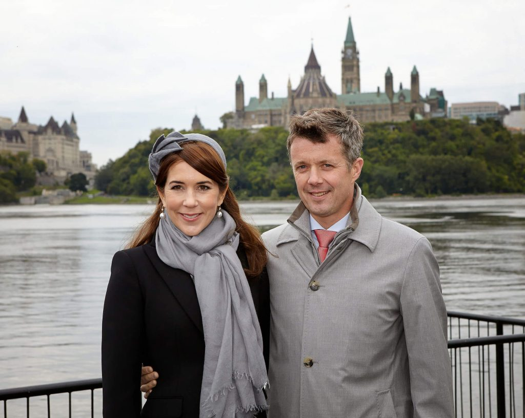 Crown Prince and Princess of Denmark in front of Canadian Parliament in Ottawa
