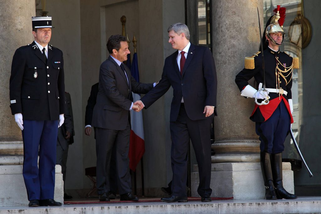 President Sarkozy meets Canadian Prime Minister Harper at the Elysee