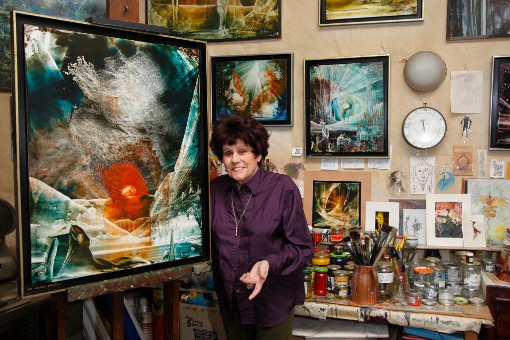 Lucienne Berthon, painter, in her studio in Neuilly-sur-Seine, Paris