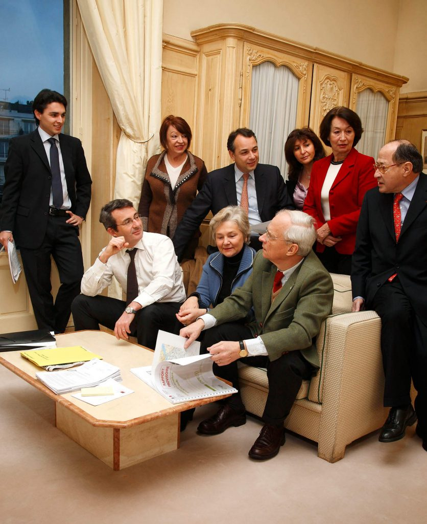 Jean-Christophe Fromantin and municipal counsellors at Neuilly-sur-Seine City Hall